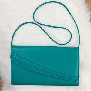 Vintage 80s Retro Purse Shoulder Bag Teal 90s Blue